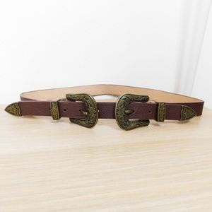 Double Buckle Brown Waist Belt